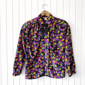 VTG 80s Floral Tie Neck Button Down Top F1882